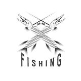 fishing emblem with skeleton of pike Stock Images