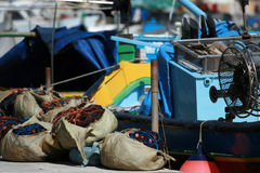 Fishing equipment. Fishing nets, boat and other equipment Stock Image