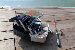 The fishing equipment. Fishing is good in the rest of the weekend Royalty Free Stock Photos