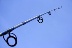 Fishing equipment. Close up of fishing equipment on the blue sky Stock Images