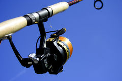 Fishing equipment. On the blue sky Stock Photo