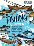 Fishing equipment banner with fish, rod and boat. Fishing equipment banner with fish and fishing boat. Fishing rod, hook and bait, reel, tackle and lure sketch Stock Photos