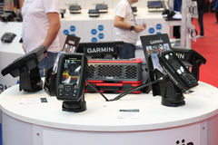Fishing equipment Belgrade nautical fair. BELGRADE,SERBIA-MARCH 12,2017:Garmin STRIKER fishfinders with built in GPS plus CHIRP sonar and CHIRP scanning sonar Stock Photography