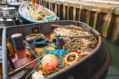 Fishing equipment in the boat Stock Photos