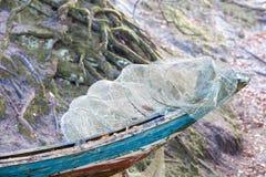 Fishing equipment. Closeup of white fishnet net outdoor Stock Photos