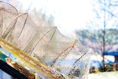 Fishing equipment. Closeup of white fishnet net outdoor Royalty Free Stock Image