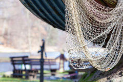 Fishing equipment. Closeup of white fishnet net outdoor Stock Photography