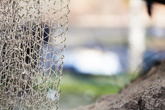 Fishing equipment. Closeup of white fishnet net outdoor Royalty Free Stock Photography