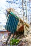 Fishing equipment. Closeup of white fishnet net outdoor Royalty Free Stock Photo