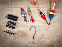 Fishing Equipment - concept of choice fishing techniques. Concept of choice fishing techniques. Question mark Royalty Free Stock Images