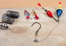 Fishing Equipment - concept of choice fishing techniques. Concept of choice fishing techniques. Question mark Royalty Free Stock Photos