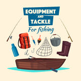Fishing equipment and fisher vector tackle set Royalty Free Stock Photo
