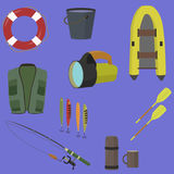 Fishing equipment. Flat style vector illustration vector illustration