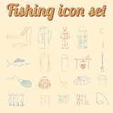 Fishing equipment icon set. Outline version. Stock Photography