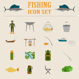 Fishing equipment icon set Stock Photos