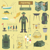 Fishing equipment icon set Royalty Free Stock Photo