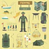 Fishing equipment icon set Royalty Free Stock Photo