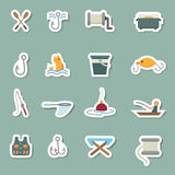 Fishing Equipment icons Stock Image