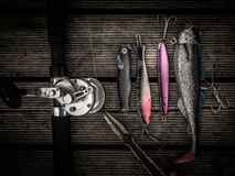 Free Fishing Equipment Including Pilkers Hooks, Fishing Tackles, Rod Royalty Free Stock Photo - 101661715