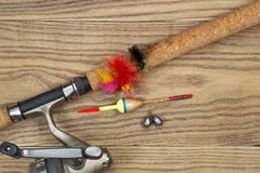Fishing Equipment on Old Wood Royalty Free Stock Photo