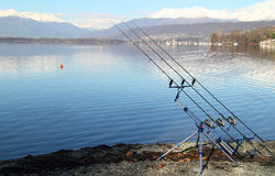 Fishing equipment and rods on a tripod Royalty Free Stock Photo