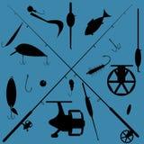 Fishing equipment set Royalty Free Stock Photography