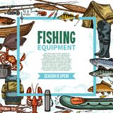 Fishing equipment sketch poster with fish catch. Fishing equipment sketch poster with fisherman tackle, fish catch and seafood. Fishing gear, rod and boat, bait Royalty Free Stock Image