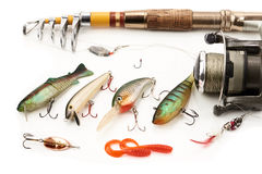 Fishing equipment. On white background Stock Images