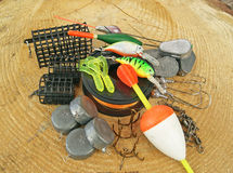 Fishing equipment on wooden Stock Image