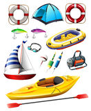 Fishing equipments and boats Stock Photography