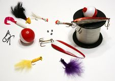 Fishing Essentials. Picture of the fishing essentials equipments Stock Photos