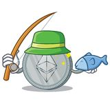 Fishing Ethereum coin character cartoon. Vector illustration Royalty Free Stock Photography