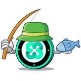 Fishing Ethos coin mascot cartoon. Vector illustration Stock Photo