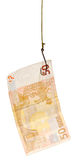Fishing with 50 euro banknote lure on fishhook Stock Image