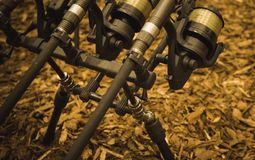 Fishing fairs Rybomania in Poland. Carp rod on the stand.. Stock Images