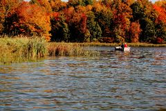 Fishing with fall colors. Couple fishing under bright fall colors Stock Images