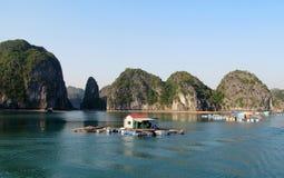 Fishing farm in Ha Long Bay, Vietnam royalty free stock photo