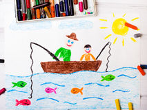 Fishing father and son Royalty Free Stock Images