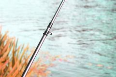 Fishing with feeder fishing rod on river royalty free stock photos