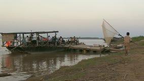 Fishing , ferry,  mekong ,  cambodia stock video