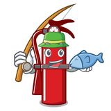Fishing fire extinguisher mascot cartoon. Vector illustration Royalty Free Stock Image
