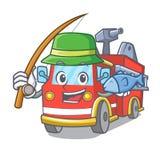Fishing fire truck mascot cartoon. Vector illustration Stock Photos
