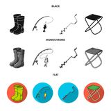 Fishing, fish, catch, fishing rod .Fishing set collection icons in black, flat, monochrome style vector symbol stock. Illustration Royalty Free Stock Images