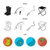 Fishing, fish, catch, fishing rod .Fishing set collection icons in black,flat,outline style vector symbol stock. Illustration Royalty Free Stock Image