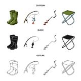 Fishing, fish, catch, fishing rod .Fishing set collection icons in cartoon,black,outline style vector symbol stock. Illustration Stock Photo