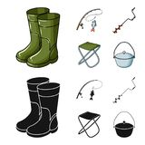 Fishing, fish, catch, fishing rod .Fishing set collection icons in cartoon,black style vector symbol stock illustration.  Royalty Free Stock Images