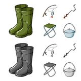 Fishing, fish, catch, fishing rod .Fishing set collection icons in cartoon,monochrome style vector symbol stock. Illustration Stock Images