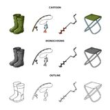Fishing, fish, catch, fishing rod .Fishing set collection icons in cartoon,outline,monochrome style vector symbol stock. Illustration Stock Photo