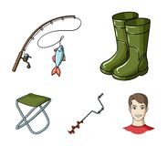 Fishing, fish, catch, fishing rod .Fishing set collection icons in cartoon style vector symbol stock illustration web. Fishing, fish, catch, fishing rod Stock Images