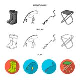 Fishing, fish, catch, fishing rod .Fishing set collection icons in flat,outline,monochrome style vector symbol stock. Illustration Stock Photos